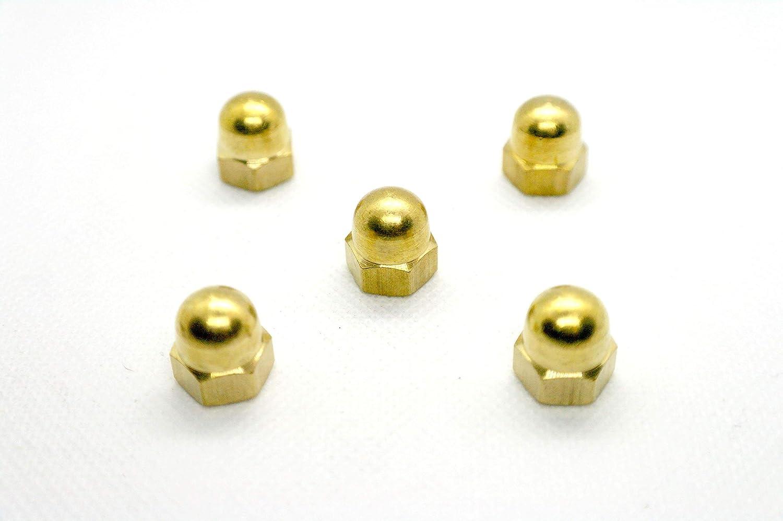 tambi/én conocidas como tuerca de bellota//corona hexagonal//tuerca ciega//tuerca ciega//tap/ón de tuerca DIN1587 M Tuercas de c/úpula de lat/ón Paquete de 5 unidades