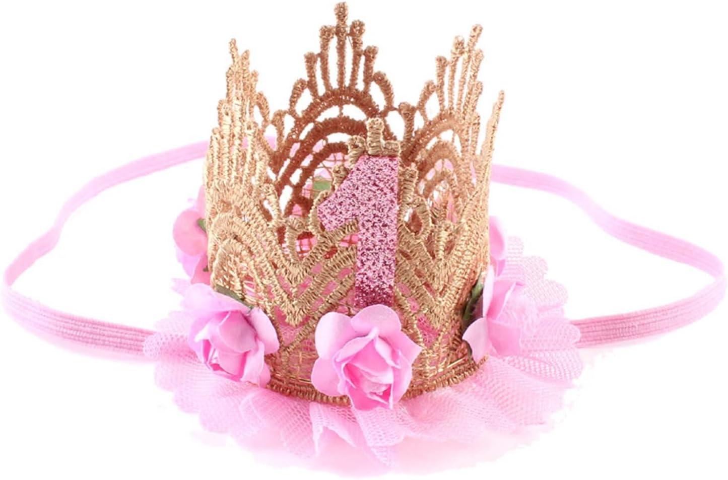 Girls Princess Flower Headwear Baby Birthday Hat Crown Hair Band 1 Years Old