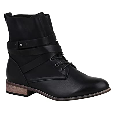 e54473f17861 Ladies  Ankle Boots Worker Boots Leather-Look Lace-Up Camouflage Booties  Block Heel s 3-9 Flandell Black UK 5.5 EU 39  Amazon.co.uk  Shoes   Bags