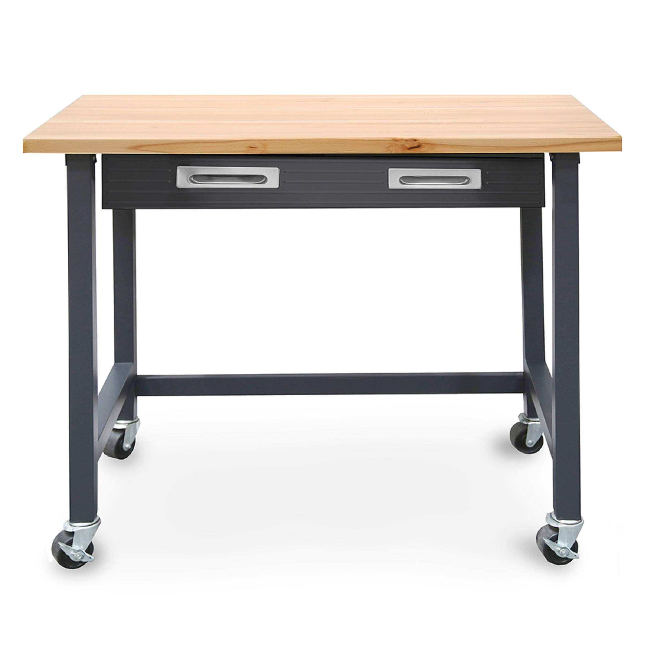 Seville Classics WEB484 UltraGraphite Wood Top Workbench on Wheels with Sliding Organizer Drawer by Seville Classics