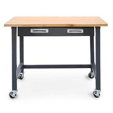Seville Classics WEB484 UltraGraphite Wood Top Workbench on Wheels with Sliding Organizer Drawer