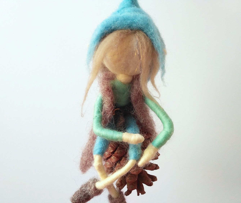 Needle Felted Whimsical Fairy Elf Sitting On A Pine Cone, For Home Decor Or Girl Nursery, Fantasy Handmade Figurine Art Doll