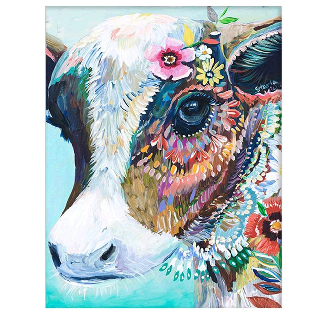 DIY Oil Painting Paint by Number Kits DIY Canvas Painting by Numbers Acrylic Oil Painting for Adults Kids Arts Craft for Home Wall Decor Colourful Cow Cuteadorns