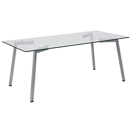 de0f2d24bfa4 Amazon.com  Flash Furniture Roxbury Collection Glass Coffee Table with  Silver Metal Legs  Kitchen   Dining