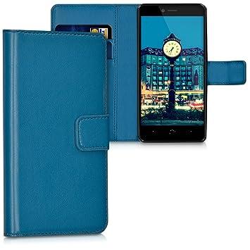 kwmobile Funda para bq Aquaris U Plus - Carcasa de Cuero sintético - Case con Tapa y Tarjetero en Azul Oscuro