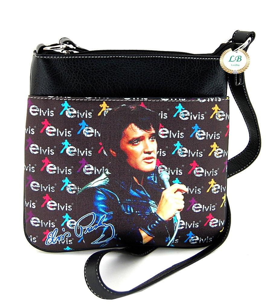 Elvis Presley Cross Body Bag, Black Jacket with Microphone by Elvis Presley