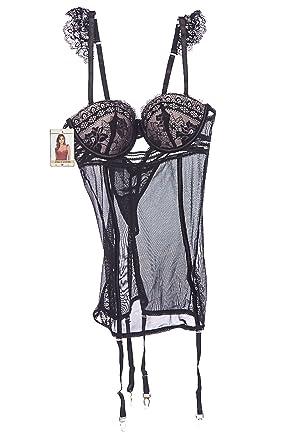 59cf64c607 GENx Womens Lace Babydoll Bodysuit Garter Belts Push Up Bra Teddy Lingerie  Set 220 (S
