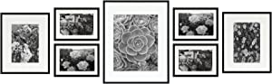 Golden State Art, Metal Wall Photo Frame Collection, Set of 7, Aluminum Black Photo Frame with Ivory Color Mat & Real Glass (Black)