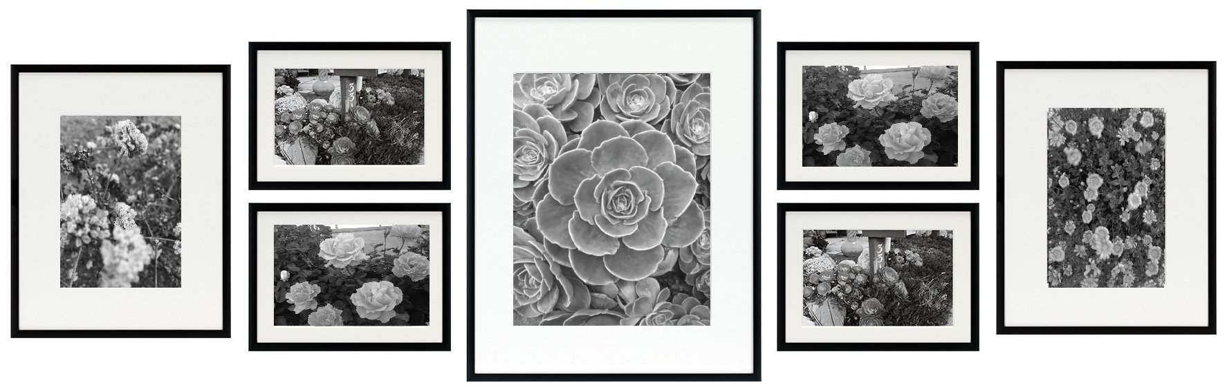 Golden State Art, Metal Wall Photo Frame Collection, Set of 7, Aluminum Black Photo Frame with Ivory Color Mat & Real Glass (Black) by Golden State Art