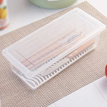 JAZS® Cocina Lishui Crisper cajas de plástico de pescado Frutas y hortalizas de mariscos Caja de almacenamiento Caja de almacenamiento refrigerado a prueba ...