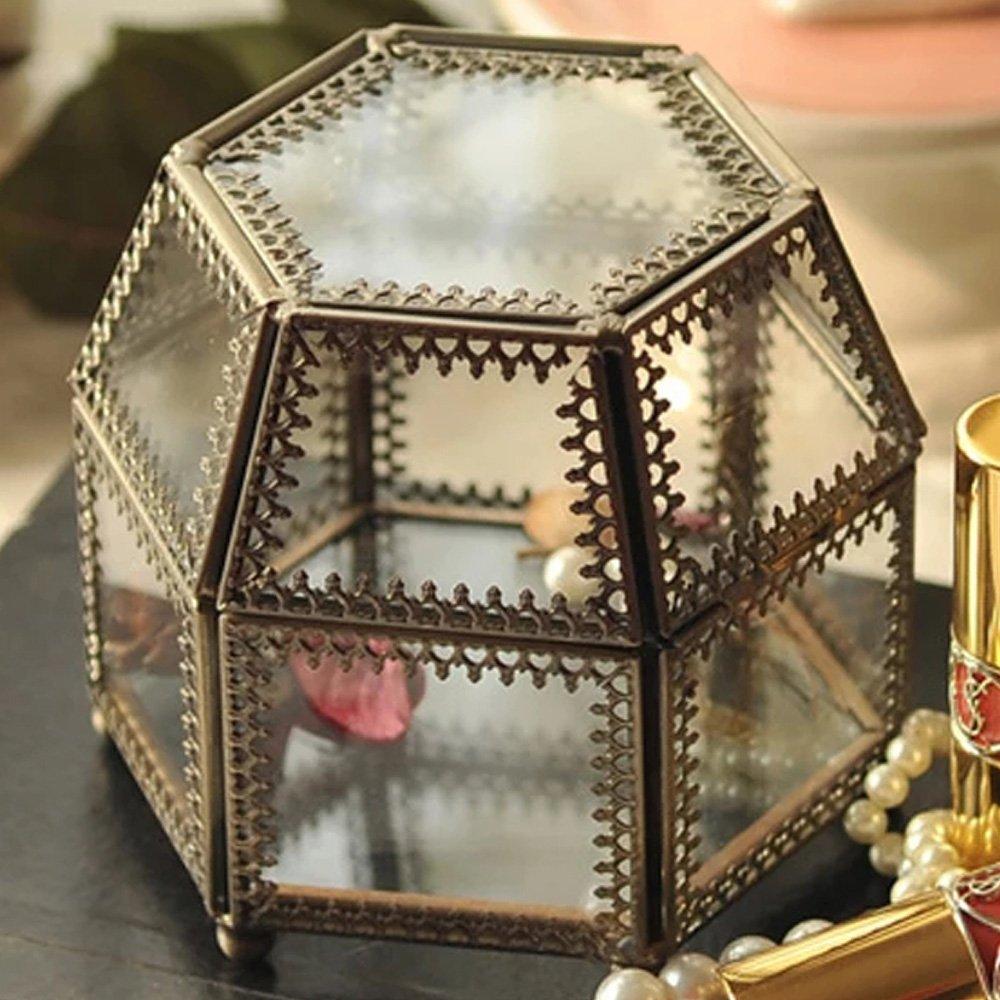 Vintage latón Metal decorativo Claro Cristal Joyería Caja de sombra/Counter Top Display Soporte hexagonal plata encaje caso DesignD