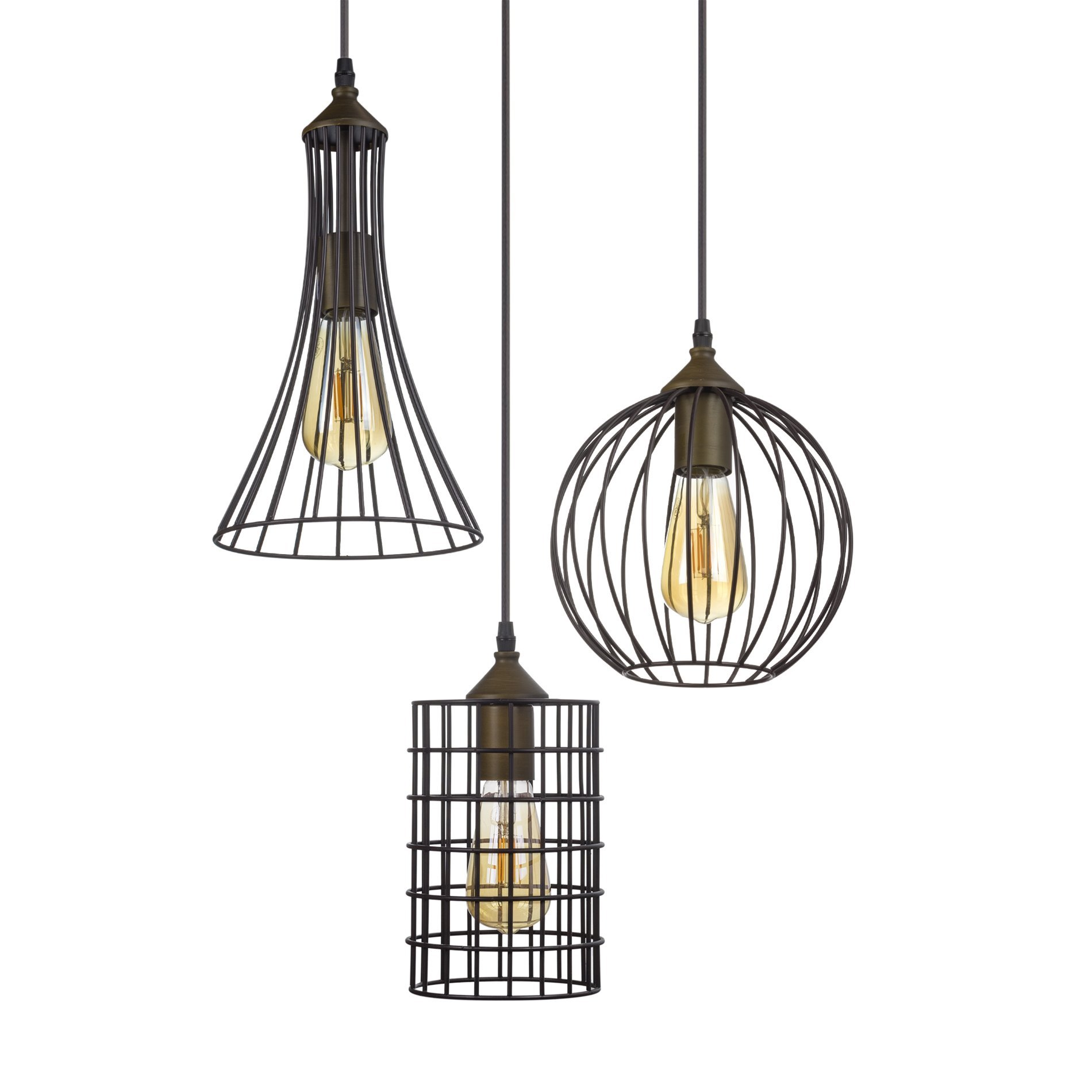Kira Home Wyatt 11.5'' Rustic Industrial 3-Light Multi-Pendant Chandelier + Metal Shades, Cage Design, Adjustable Wire, Oil-Rubbed Bronze Finish