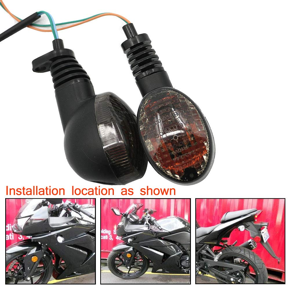 Motoparty For KAWASAKI EX250R NINJA 250R KLX250S KLX250SF VN650 Vulcan S Front/Rear Turn Signal Indicator Light Blinker Lamp Motorcycle,Smoke Shell