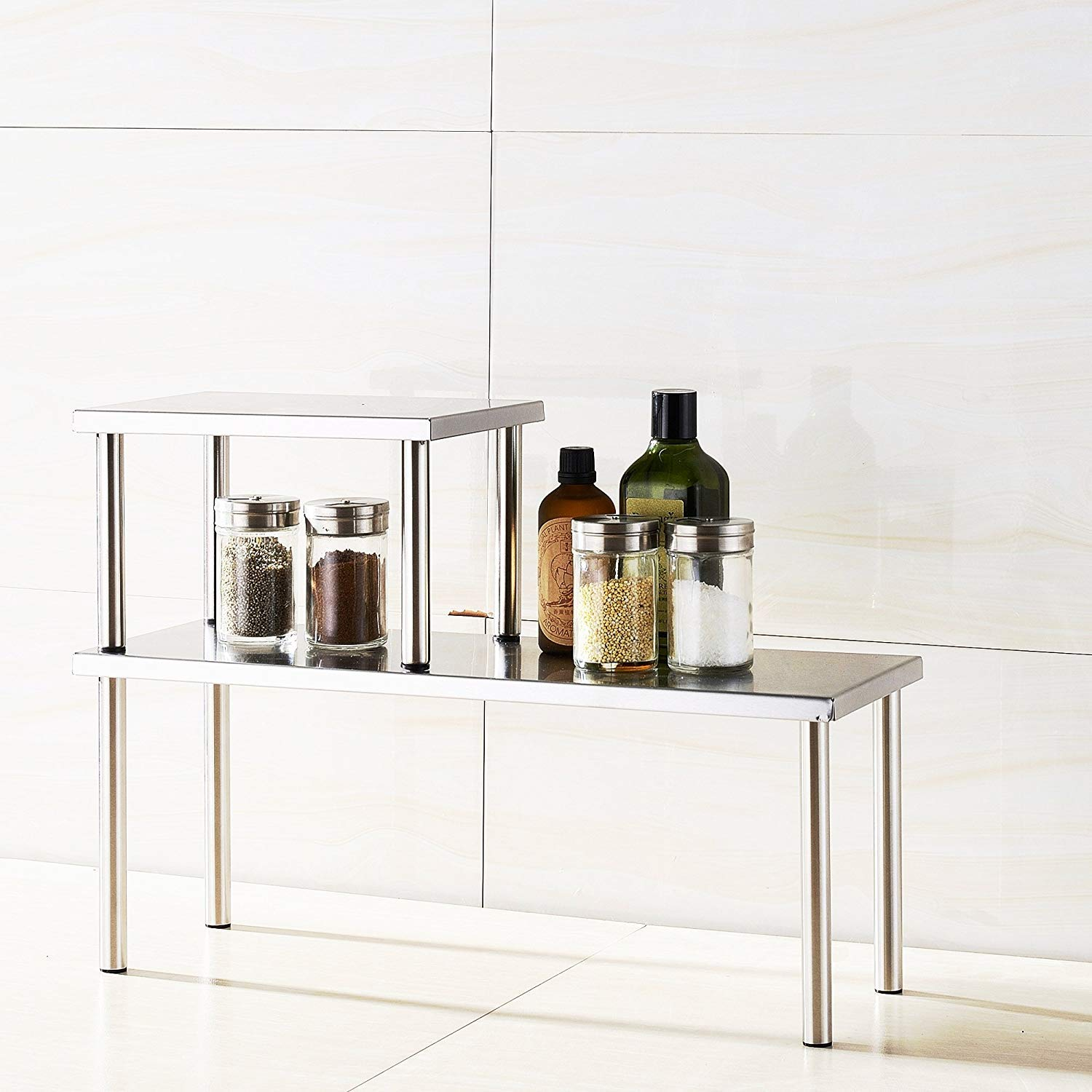 Rectangle Cook N Home 2-Tier Stainless Steel Counter Storage Shelf Organizer