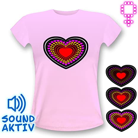 LED-Fashion - Camiseta, diseño de corazón con luces LED pink Shirt Talla:small: Amazon.es: Deportes y aire libre