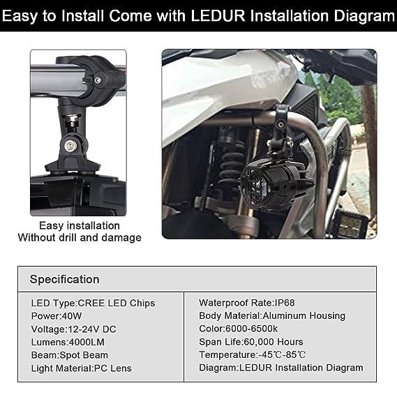 Amazon.com: LEDUR faro LED delantero U7 DRL para motocicleta ...