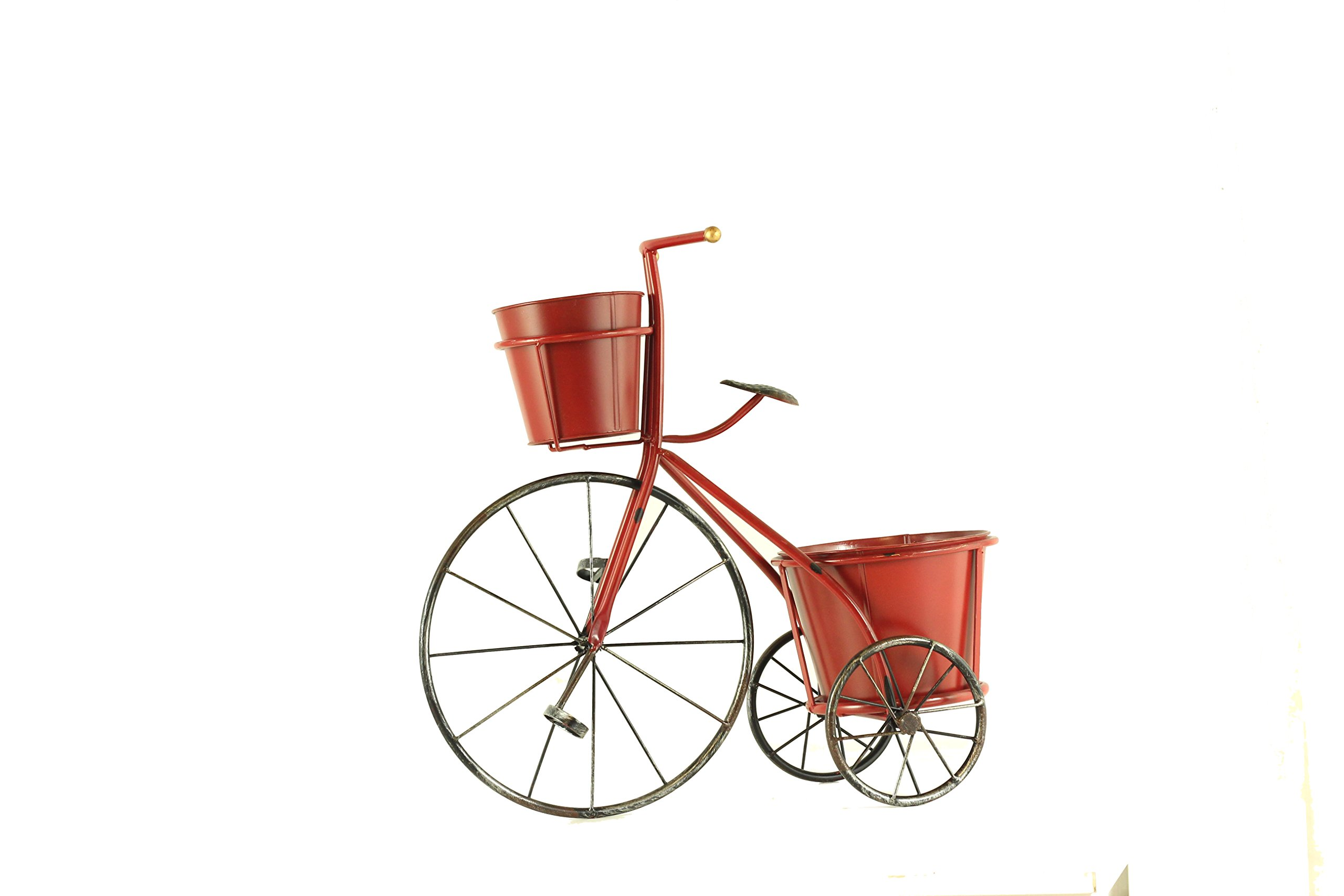 BW Decor Handmade Metal Red Bicycle Tricycle with Two Flower Pots, Plant Stand