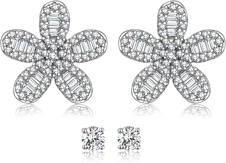 925 Sterling Silver Tiny Stud Earrings Daisy Flower Earrings Cherry Blossom Stud Earrings for Women Jewelry Gifts