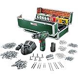 Bosch Boîte à outils toolbox perceuse-visseuse à percussion sans fil PSB 10,8 li-2 colorguide, 508 pièces, 2 batteries, technologie syneon 060398390C