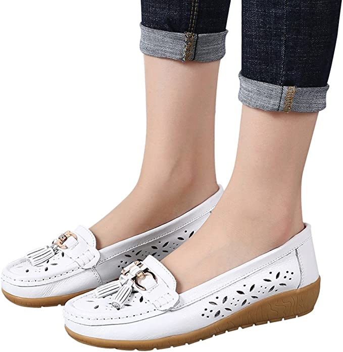Hot Fashion Flats Ladies Comfy Ballet Shoes Soft Slip-On Casual Boat Shoes Ninasill Summer Shoe