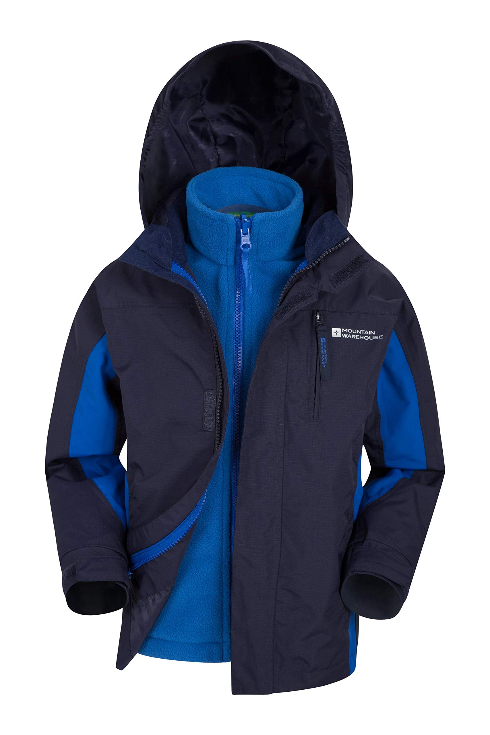 Mountain Warehouse Cannonball 3 in 1 Kids Rain Proof Jacket Cobalt 3-4 Years by Mountain Warehouse