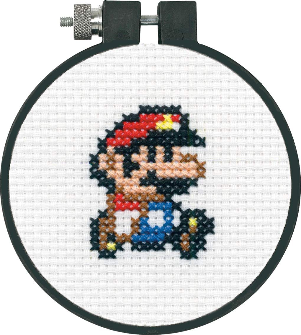 Dimensions Arts and Crafts Super Mario Bros Cross Stitch Kit for Beginners, 11 Count White Aida, 3''D