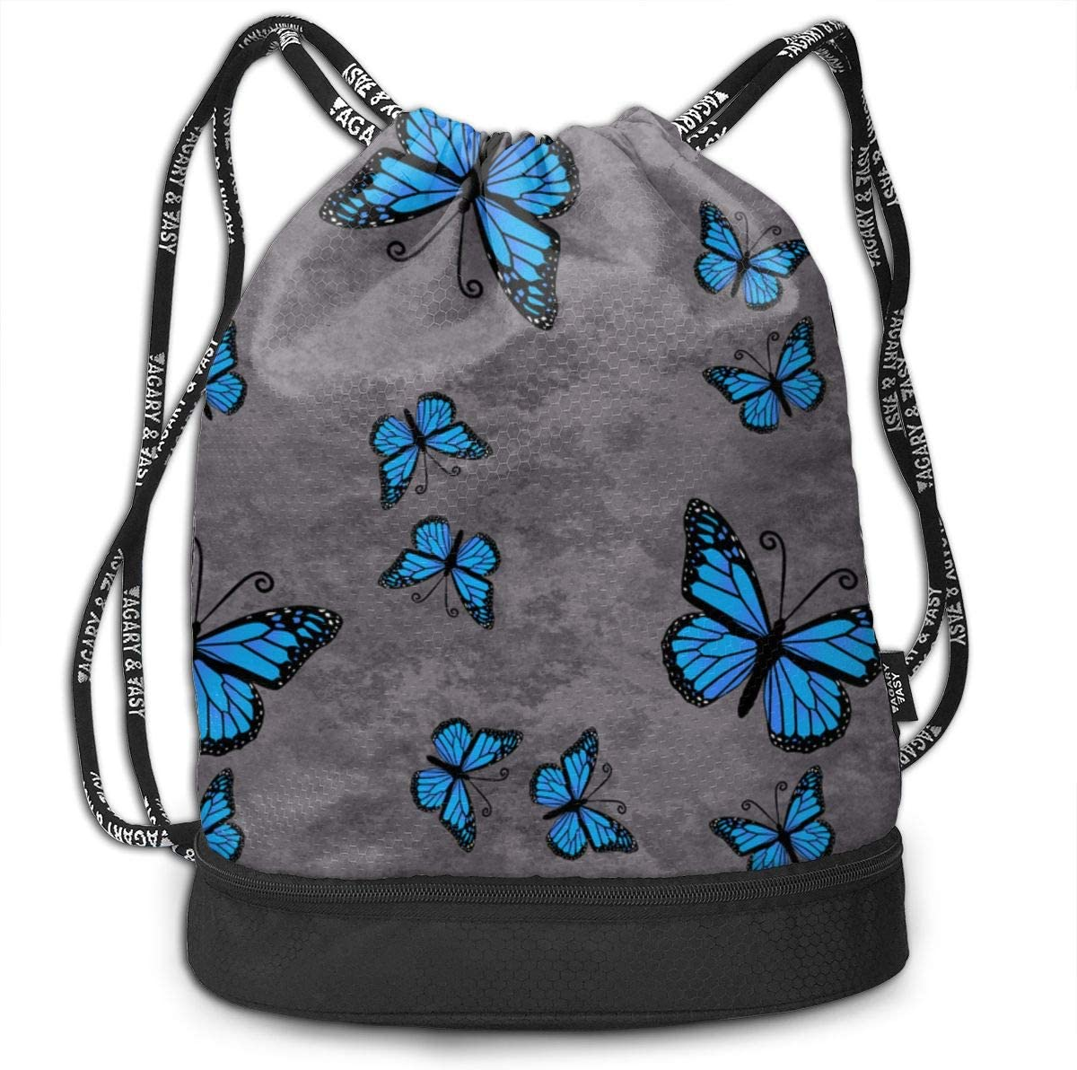 Monarch Butterflies Blue On Gray Granite Drawstring Backpack Sports Athletic Gym Cinch Sack String Storage Bags for Hiking Travel Beach