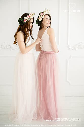 62ad1087fab6 Amazon.com: Bridesmaids Novel Dress with Silk Cami Top Buttons in the Back, Tulle  Skirt Long Floor Length, Blush Pink Silk Dress, button-back blouse: ...
