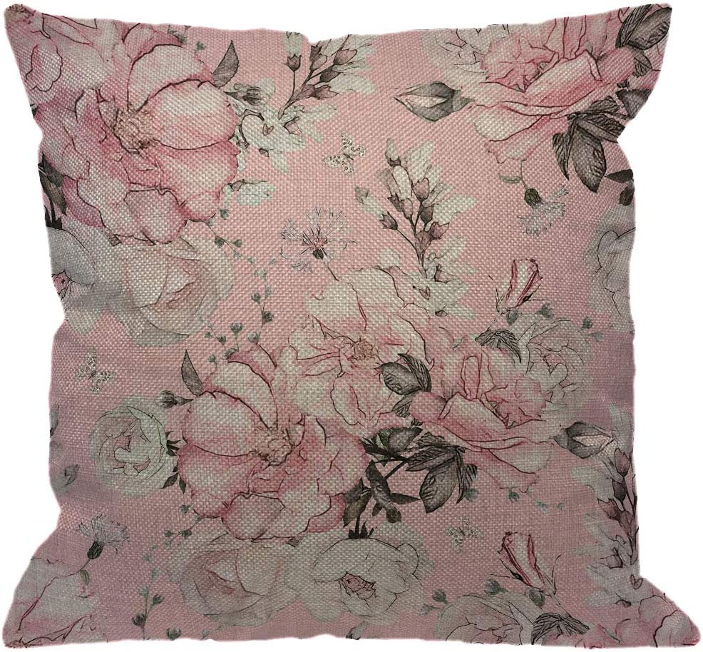 Amazon Com Hgod Designs Floral Throw Pillow Cover Flowers And Leaves Pink Watercolor Floral Blossom Flower Rose Spring Decorative Pillow Cases Cotton Linen Square Cushion Covers For Home Sofa Couch 18x18 Inch Home