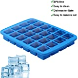 HOMKOM - 24 Cavity / Square Silicone Ice Cube Tray Molds Chocolate Candy Mold Ice Maker / Make Amazing 1.1 Inches Square Ice Cubes ( Blue )