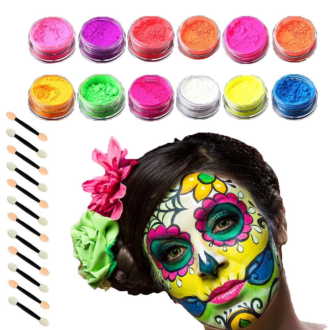 Colorful Eyeshadow Face Body Loose Powder Makeup 12 Bright Colors Fluorescent Pigment with Brush Sponge Applicator