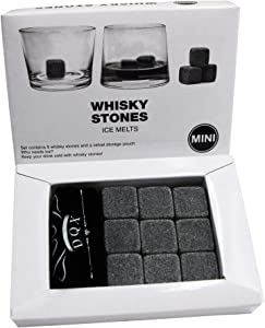 Whiskey Stones Gift Set of 9 Unique Granite Chilling Stones with Velvet Pouch-Reusable Chill Rocks-Perfect for Whiskey Drinker