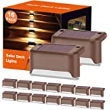 Solar Deck Lights Led Solar Step Lights Outdoor Warning Warm Light for Steps Decks Pathway Yard Stairs Fences Tent Camping 16