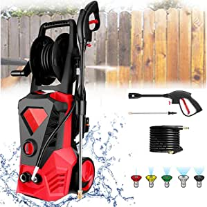 KGK Pressure Washer Electric 3500 PSI 2.6GPM Red High Pressure Washer Car Patio Garden Power Washer Machine with Spray Gun, 5 Adjustable Nozzles, 20 ft Hose [US Stock]
