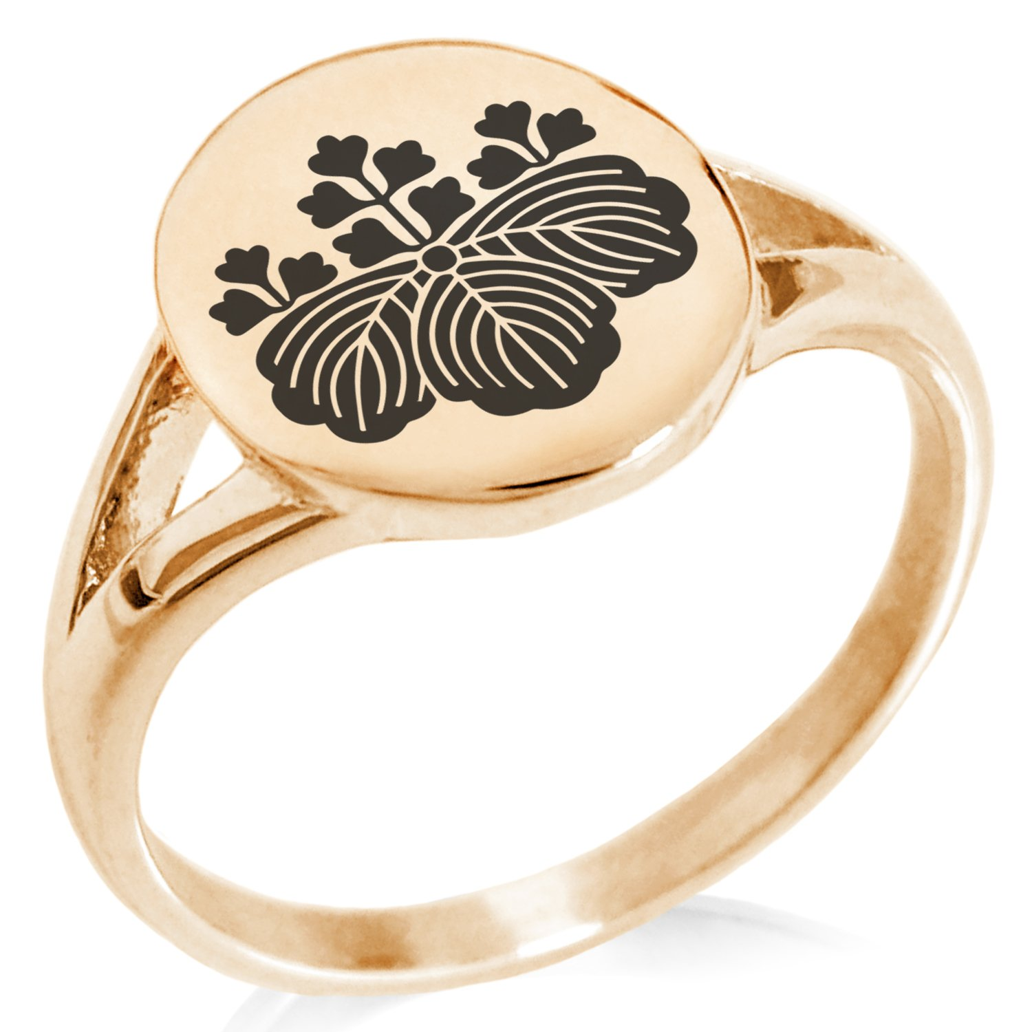 Rose Gold Plated Stainless Steel Toyotomi Samurai Crest Minimalist Oval Top Polished Statement Ring, Size 6