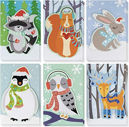 amazon com christmas card 24 pack holiday greeting card merry xmas cards in 6 cute animal designs cards with message inside seasons greetings assorted winter handmade cards with envelopes 4 x christmas card 24 pack holiday greeting card merry xmas cards in 6 cute animal designs cards with message inside seasons greetings assorted
