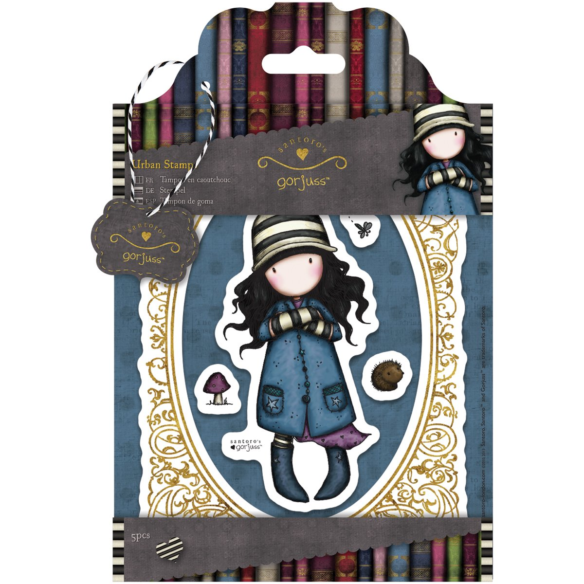 Simply Gorjuss - Set di 5 targhette decorative, serie: Toadstools Urban Stamps Docrafts GOR 907116