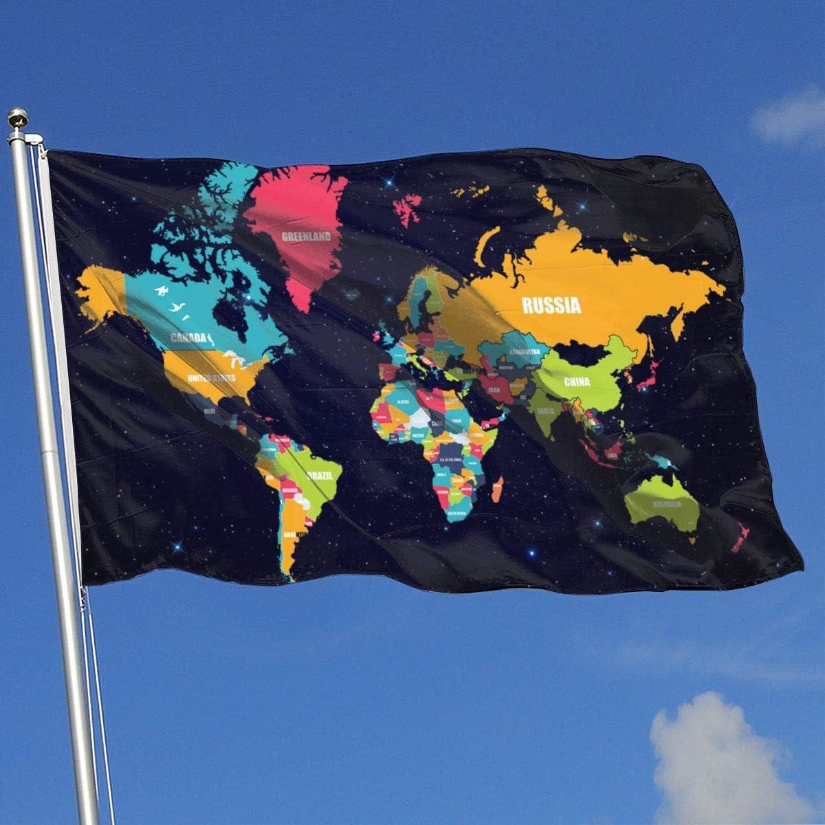 Zudrold Banderas al Aire Libre Mapa del Mundo Bandera para fanáticos de los Deportes Fútbol Baloncesto Béisbol Hockey
