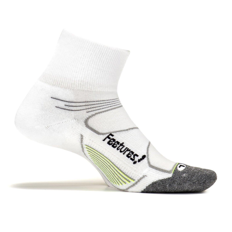 Feetures - Elite Max Cushion - Quarter - Athletic Running Socks for Men and Women - White + Black - Size Medium