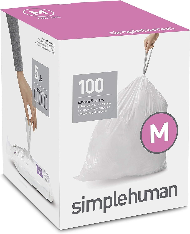simplehuman Code M Custom Fit Drawstring Trash Bags, 45 Liter / 12 Gallon, 100-Count Box