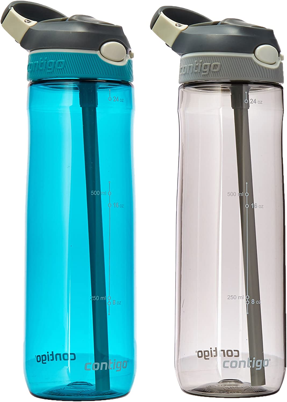 Contigo AUTOSPOUT Straw Ashland Water Bottles, 24 oz, Scuba and Smoke, 2-Pack