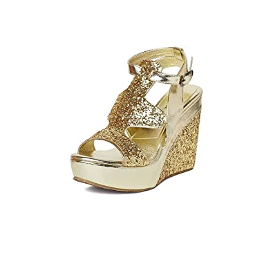 MarcLoire Women Wedge Heels, Girls Fashion Sandals, Open Toe Wedge Sandals, Buckle Type Platform Heels - Height 3.25 Inches, Synthetic, Golden Women's Fashion Sandals at amazon