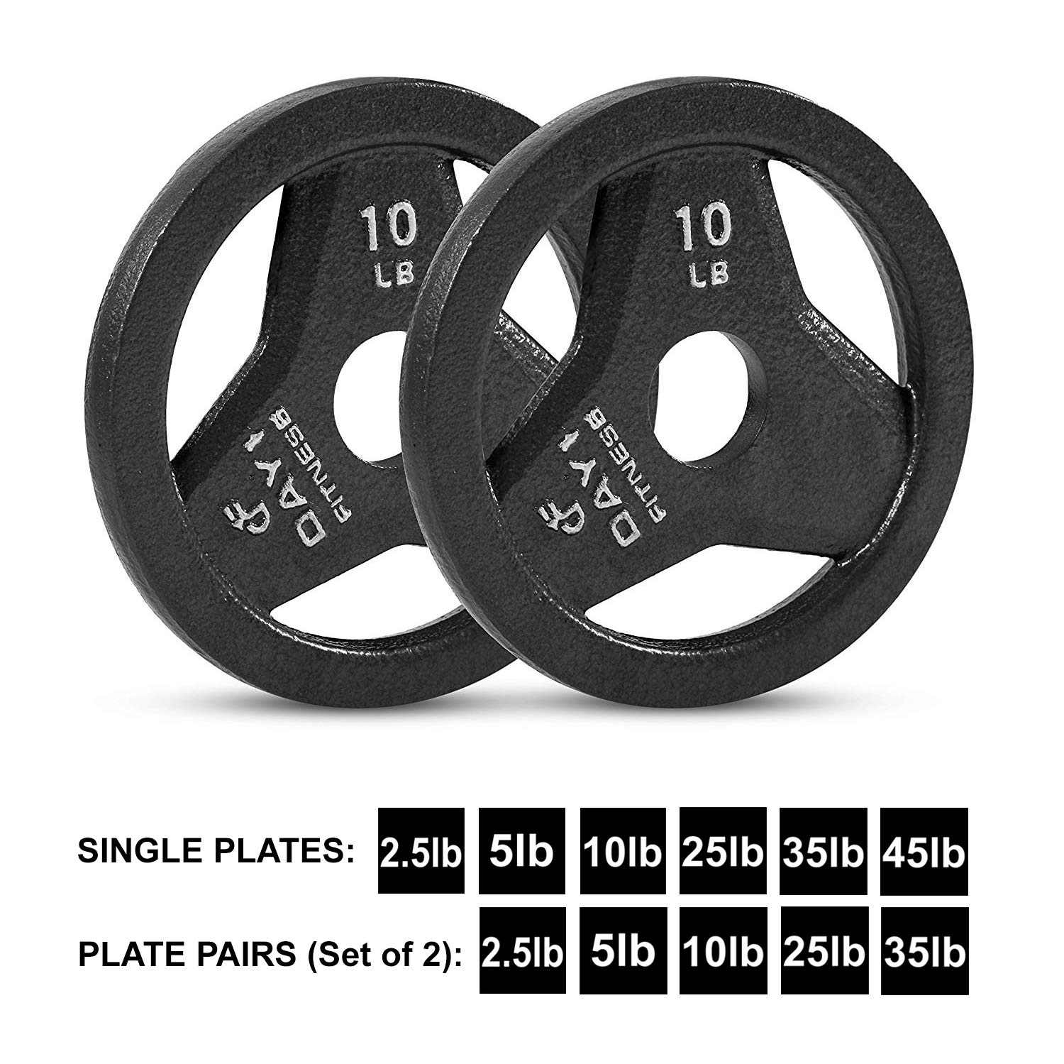 Day 1 Fitness Cast Iron Olympic 2-Inch Grip Plate for Barbell, 10 Pound Set of 2 Plates Iron Grip Plates for Weightlifting, Crossfit - 2'' Weight Plate for Bodybuilding by Day 1 Fitness