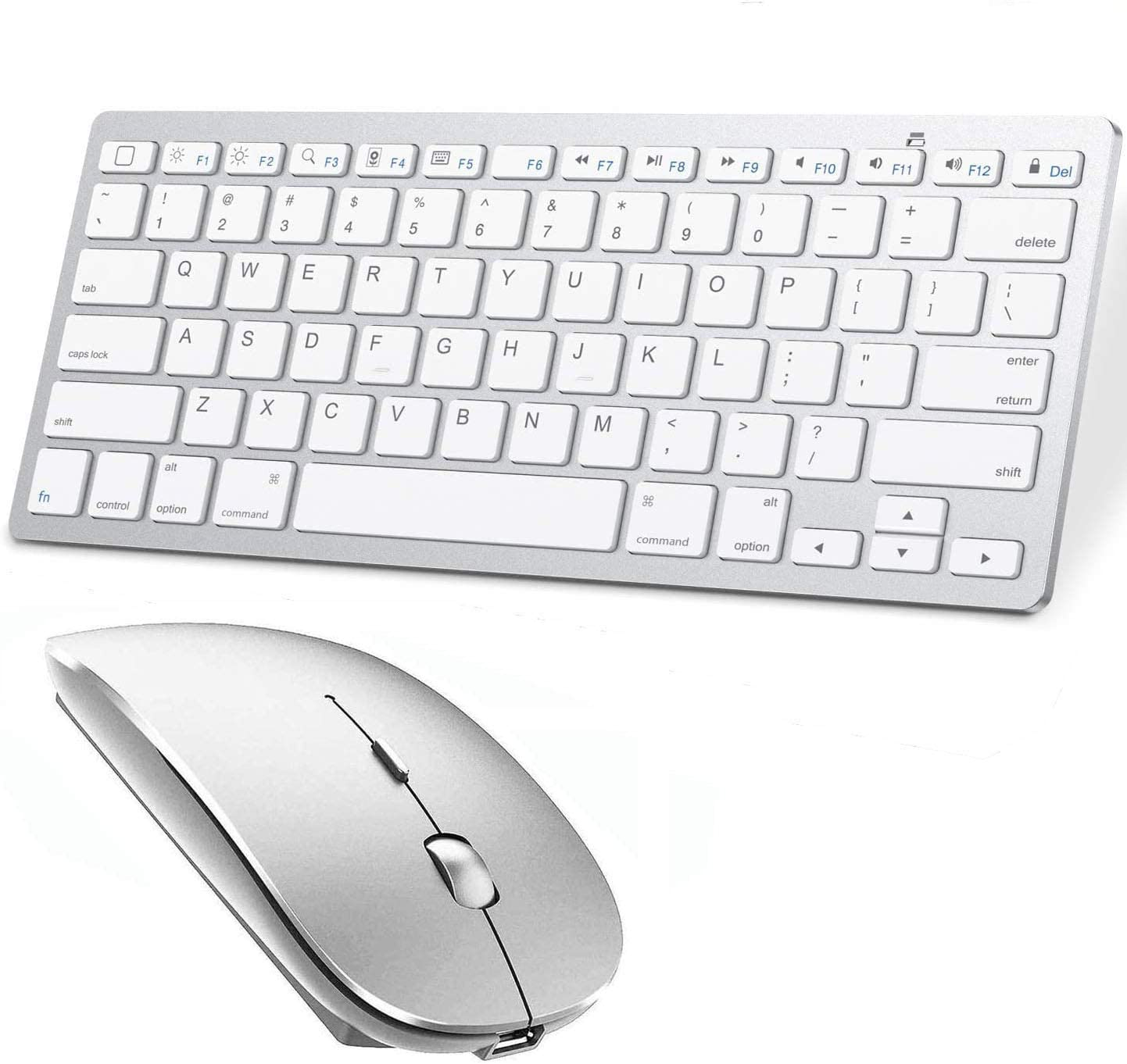 Bluetooth Keyboard and Mouse for iPad and iPhone (iPadOS 13 / iOS 13 and Above) Wireless Keyboard and Mouse for iPad/iPad Air/iPad Pro/iPad Mini, iPhone,Mac (Silver)