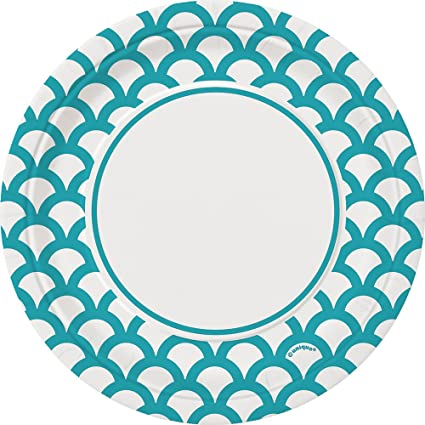 Teal u0026 White Print Scallop Paper Cake Plates ...  sc 1 st  Amazon.com & Amazon.com: Teal u0026 White Print Scallop Paper Cake Plates 30ct ...