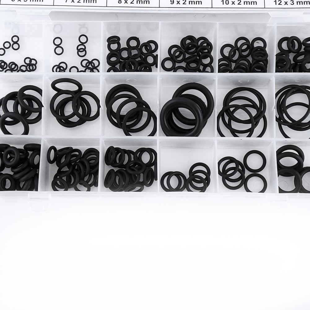 225pcs Assorted Rubber O-Ring Washer Seals Gasket Assortment Set for Car o-Ring Adhesive
