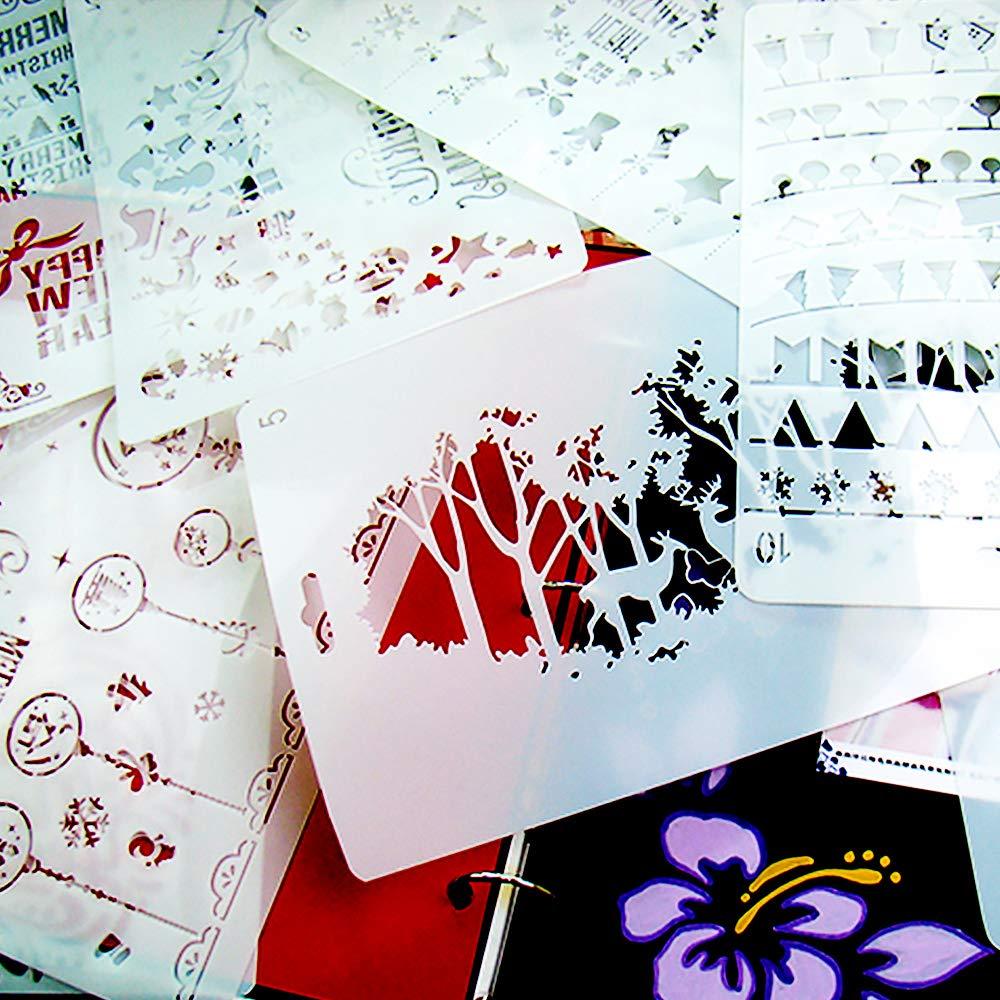 Gudotra 10pcs Pochoirs R/éutilisable Flexible avec Chiffres Lettres d/'Alphabet Animaux per Scrapbooking Bullet Journal Cr/éation de Cartes Albums Photo D/écoration Murale Lettre