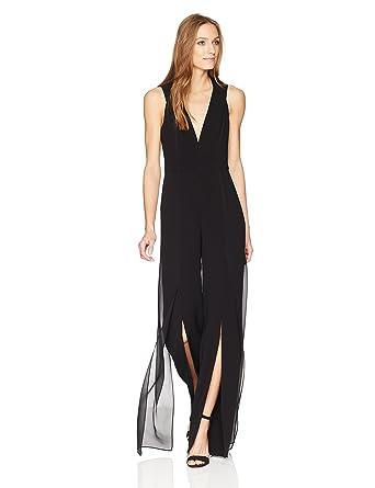 eb5ac5282977 Amazon.com  Halston Heritage Women s Sleeveless V Neck Jumpsuit with  Chiffon Panels  Clothing