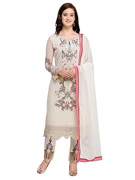 dc18496bcc AKHILAM Women's Georgette Embroidered Semi Stitched Salwar Suits Salwar Suit  Material Set (Cream_Free Size): Amazon.in: Clothing & Accessories