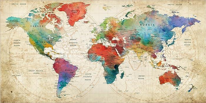 Large World Map Amazon.Amazon Com Large Wall Art Push Pin World Map Poster Travel World